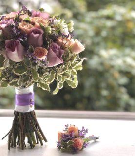 Букет невесты «Лавандовый» - бутоньерка в подарок
