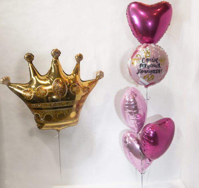 Фонтан из воздушных шаров Принцесса с короной