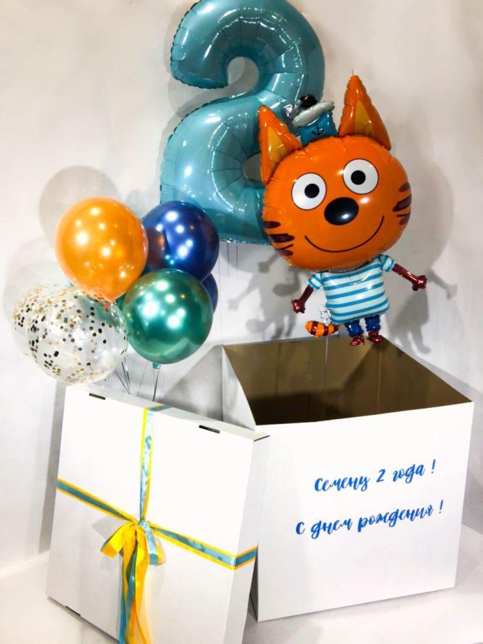 Коробка-сюрприз с воздушными шарами Три кота