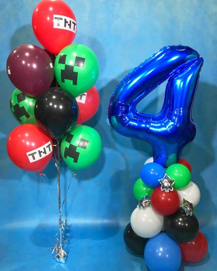 Фонтан из воздушных шаров и стойка с цифрой