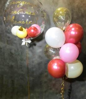 Композиция из шара баблс и фонтана из шаров