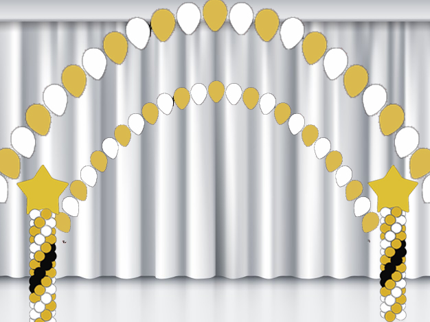 Арка и колонны из воздушных шаров для сцены на выпускной