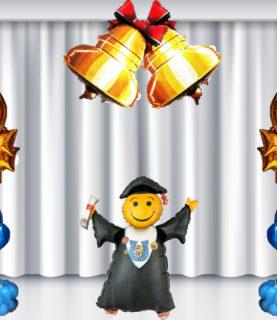 Оформление сцены на выпускной с фигурными шарами