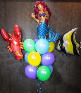 Фонтан из воздушных шаров Русалочка