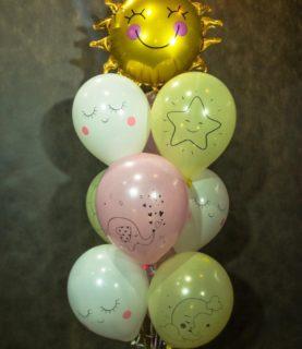 Фонтан из воздушных шаров Солнышко