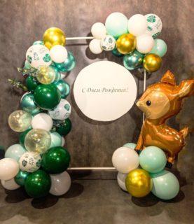 Фотозона из воздушных шаров для детского праздника Лесная сказка