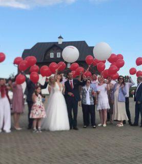 Воздушные шары на красно-белую свадьбу
