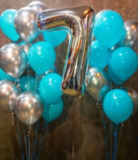 Фонтан из воздушных шаров на 7 лет