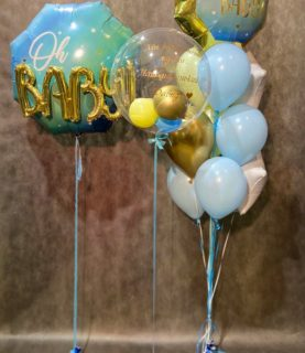 Композиция из воздушных шаров на выписку