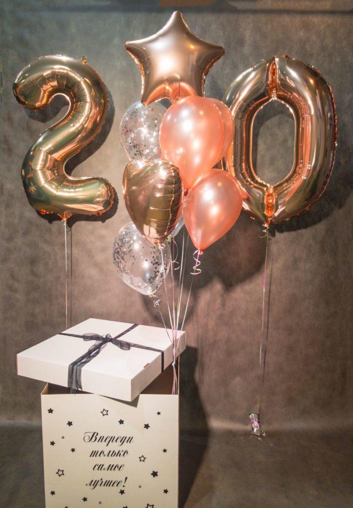 Коробка-сюрприз с воздушными шарами